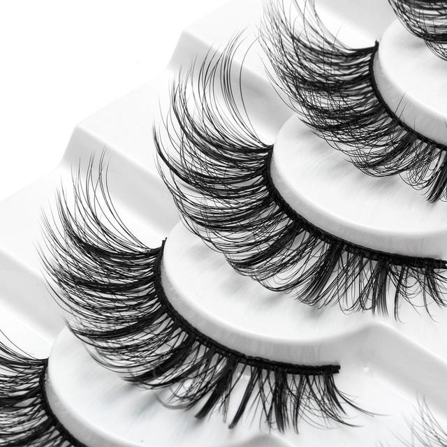 SEXYSHEEP 4/8 pairs 3D Mink Lashes Natural False Eyelashes Dramatic Volume Fake Lashes Makeup Eyelash Extension Silk Eyelashes 4