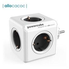 Allocacoc כוח רצועת האיחוד האירופי תקע קיר שקע מתאם PowerCube 4 חכם שקעי חשמל 250V 3680W הארכת עבור בית משרד