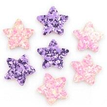 40 Uds. Parches acolchados de piel con purpurina, apliques en forma de estrella para manualidades/ropa/horquilla, accesorios para scrapbooking para manualidades K63