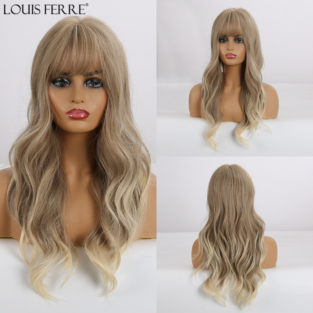 LOUIS FERRE Long Ombre Light Brown Ash Blonde Wavy Wig Natural Synthetic Wig For Women Cosplay Heat Resistant Wig With Bangs