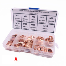 Copper Washer Gasket Nut and Bolt Set Flat Ring Seal Assortment Kit With Box M5/M6/M8/M10/M12/M14 Fastener Hardware Accessories