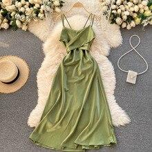 Ordifree 2021 летние Для женщин атласное платье с низким вырезом на спине платье на бретельках с бантом платье-туника на подвязке, элегантные, для ...