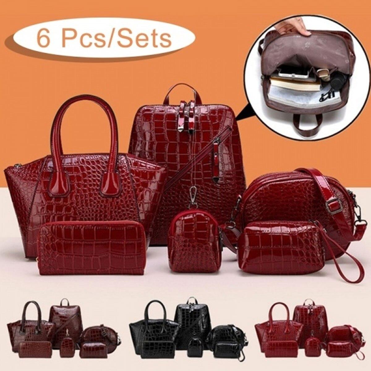 6PCS/set Women Bags Set Fashion Luxury Crocodile Pattern Female Handbags PU Leather Shoulder Bags Composite Bags Messenger Bag