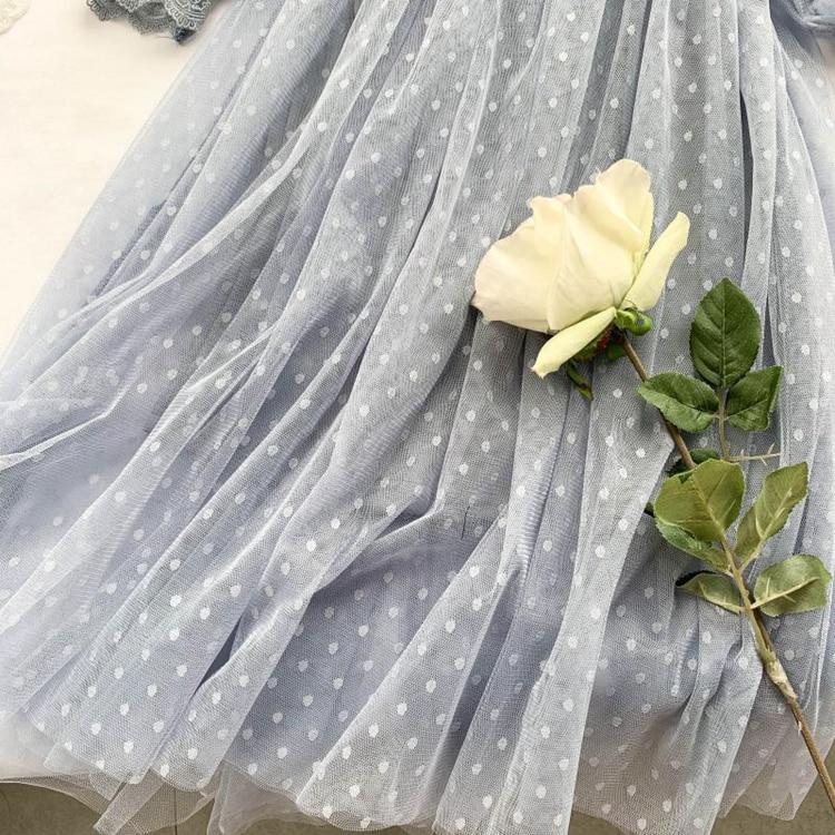 Lace Floral V-Neck Long Sleeve Polka Dot Dress 18