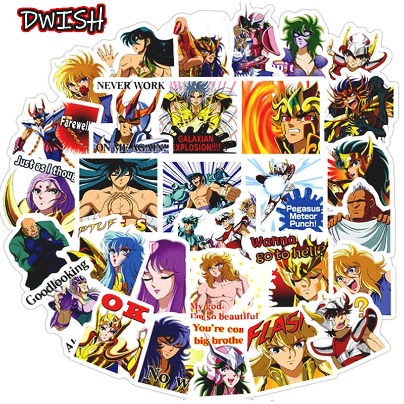 10/30/40pcs Anime Saint Seiya Stickers Waterproof PVC Skateboard Travel Suitcase Guitar Scrapbooking Girls Kids Graffiti Sticker