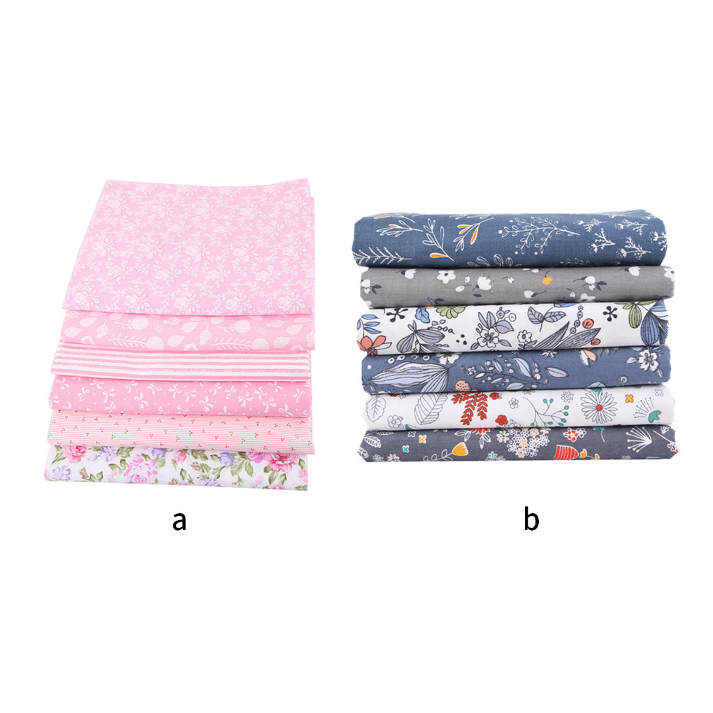 6pcs Handicraft Patchwork Fabrics Sewing Quilting Cotton Cloths DIY Floral Square Fabrics Hand Sewing Supplies-1