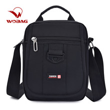 Men Casual Shoulder Bag Portable Nylon Waterproof Solid Colo