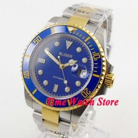 Bliger 43mm MIYOTA Automatic men's watch saphire glass blue dial date luminous gold ring Ceramic Bezel   BL123