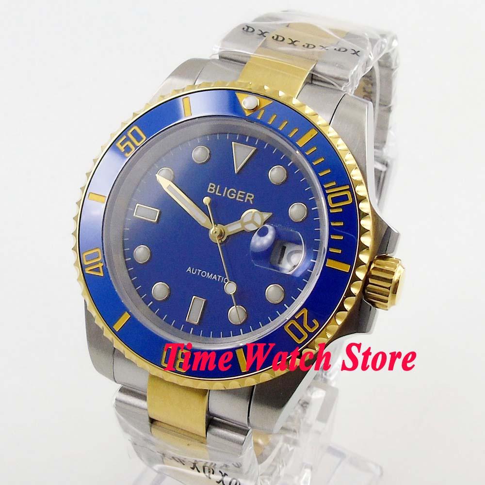 Bliger 43mm mis5 automatique montre pour hommes saphire verre bleu cadran date lumineuse or bague en céramique lunette BL123