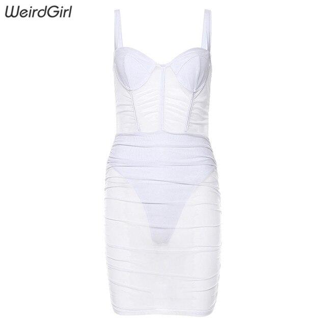 Women See Through Mesh Sexy Dresses Sleeveless Strapless Bodycon Mini Vestido Fashion Elegant Sheath Club Party New Autumn 8