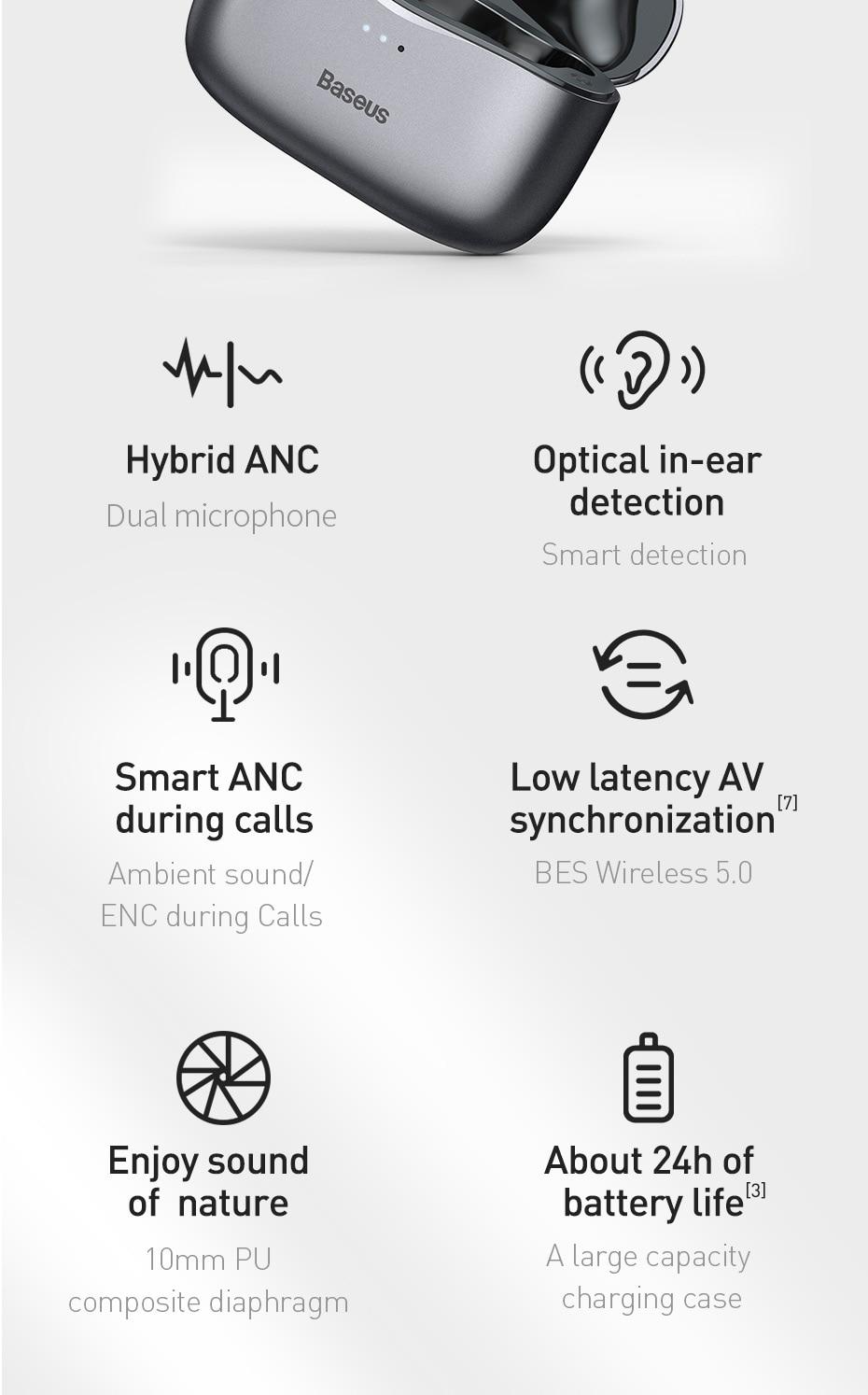 Baseus S2 ANC Earphone Active Noise Cancelling Hi-Fi Audio Gaming TWS Earphone NGS2-03 6