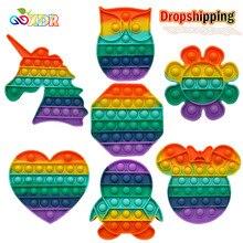 Pop fidget reliver estresse brinquedos arco-íris empurrá-lo bolha anti-stress brinquedos adultos crianças brinquedo sensorial para aliviar o autismo frete grátis