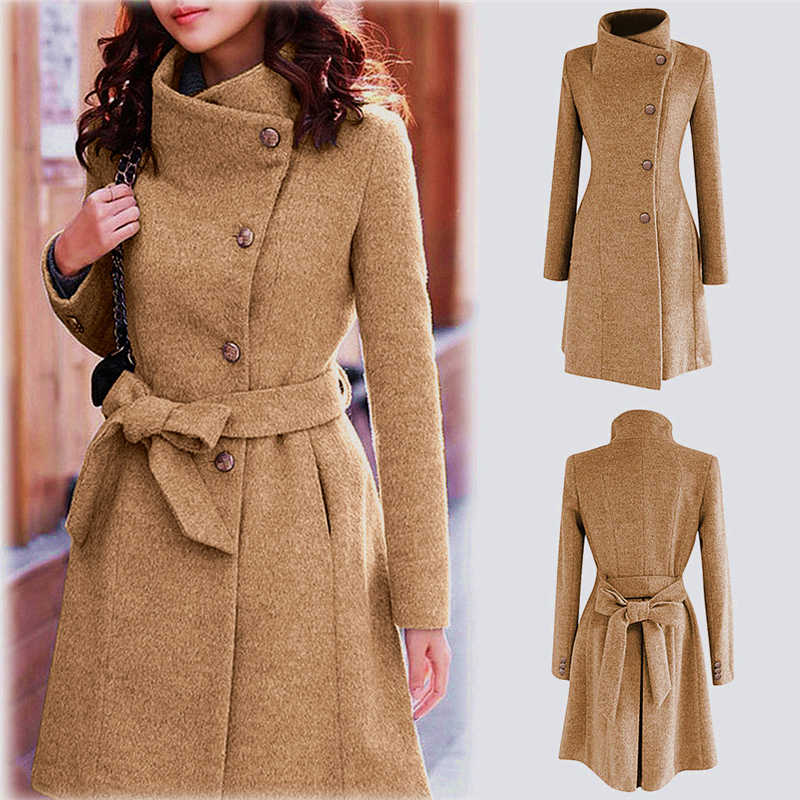 Frauen Winter Revers Wolle Mantel Graben Jacke Langarm Mantel Outwear пальто женское winter mantel frauen