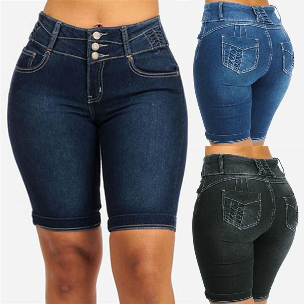 Plus Size Fashion Women Denim Shorts Pants Summer Skinny Slim Short Jeans Women Denim Shorts Pants Skinny Slim Short Jeans