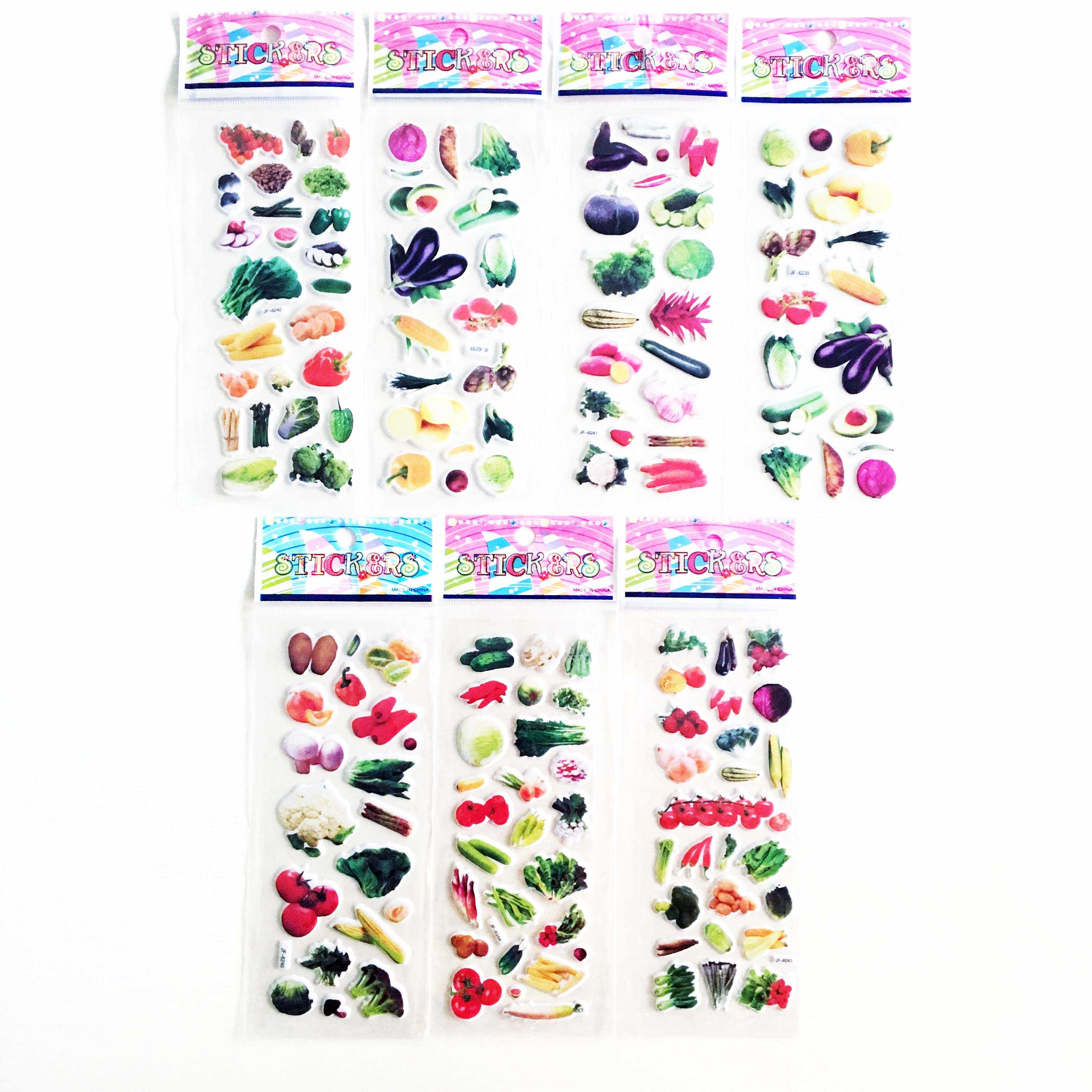 6 uds 3D pegatinas vegetales pegatinas niños niñas chicos PVC pegatinas burbujas pegatinas juguete para niños regalo DIY