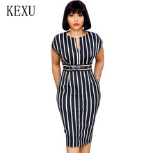 KEXU Office Lady Work Dress Women V Collar Black White Striped Slim Sexy Summer Packaged Hip Elegant Fashion Vestido Mujer