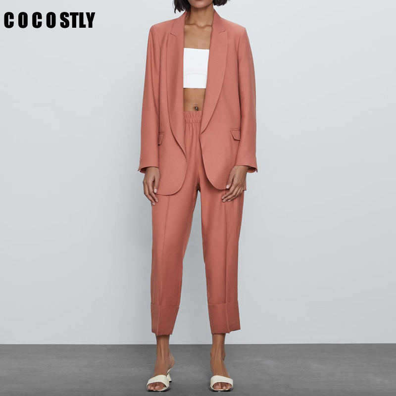 Women Suit Casual Blazer & High Waist Pant Office Lady Notched Jacket Pant Suits Korean Femme 2 Pieces Set