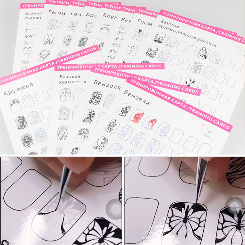 12pcs Nail Art Practice Lines Drawing Painting Template Learning Book Easy To Clean Can Be Reused Manicure Tools For Beginner