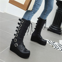 YMECHIC Winter Gothic Punk Womens Platform Boots Black Buckle Strap Lace Up Creeper Wedges Shoes Mid Calf Military Combat Boots