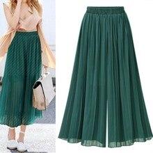 2019 Vintage Boho Female Wide Leg Pants Nine Points Casual Pleated Green Trousers Women Chiffon High Waist Summer Flare