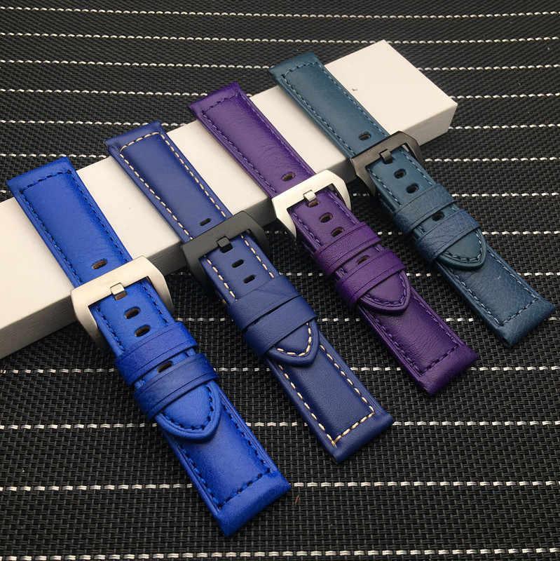 24 Mm Kuning Biru Hijau Merah Ungu Vintage Italia Sapi Kulit Gelang Gelang Jam untuk Panerai Tali untuk PAM441 Watch Band