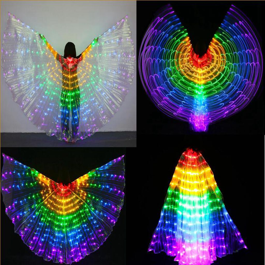 Egypt LED Isis Wings Belly Dancing Dance Costume Light Up Wing For Kids Adult