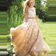 Sexy Two Piece Long Prom Dresses 2016 O Neck Appliques Lace Evening Dress Champagne Tulle Pageant Women Gown Vestidos De Festa