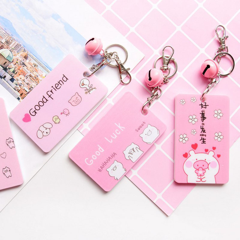 1 Pcs Kawaii Cute Pink Pig Bell Keychain Card Holder Transparent Card Holder Student Bus Work ID Card Holder