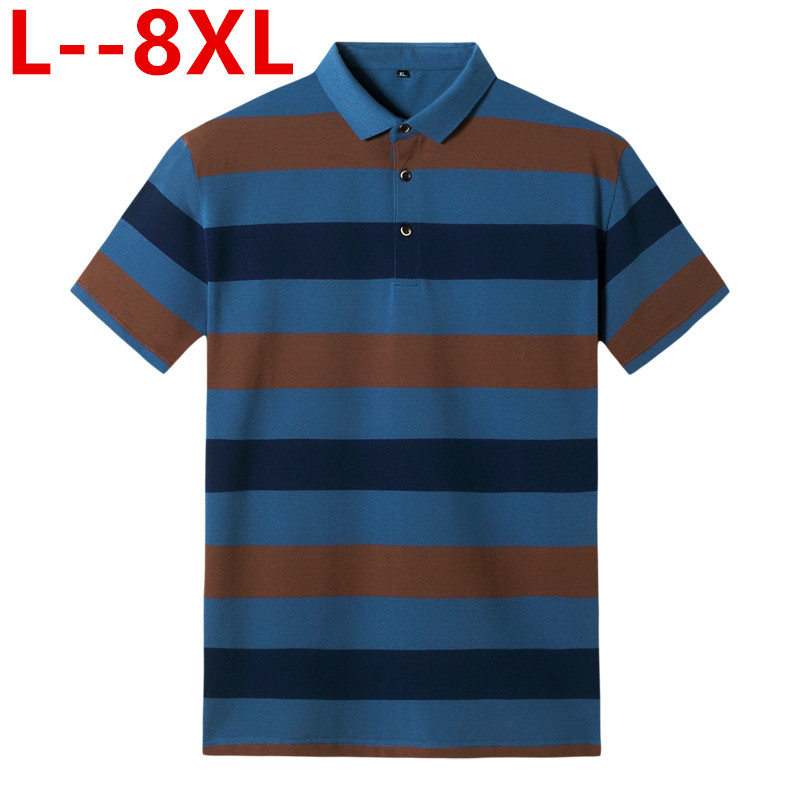 <font><b>Big</b></font> 8XL 6XL 5XL 4XL Striped Cotton <font><b>Polo</b></font> <font><b>Shirts</b></font> 2019 Summer Short Sleeve Tops Contrast Color Homme Soft Material Classical Design image