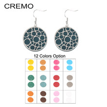 Cremo Stainless Steel Round Stud Earrings for Women Luxury Silver color small earings Interchangeable Leather fashion jewelry