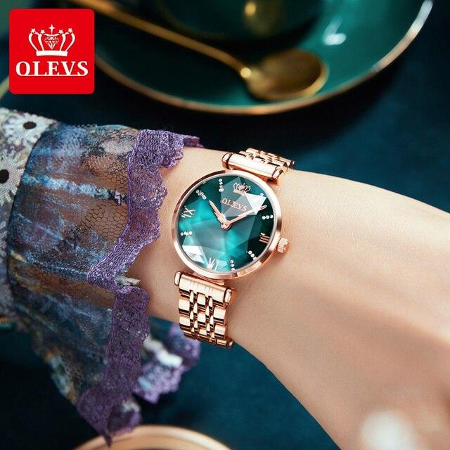 OLEVS New Women Luxury Jewel Quartz Watch Waterproof Stainless Steel Strap Watch For Women Fashion Date Clock 2