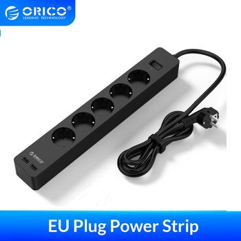 ORICO 3/5 AC+2 USB Power Strip Electronic Socket Home Office Surge Protector EU Plug Extension Smart Socket Wall Mounted Charger