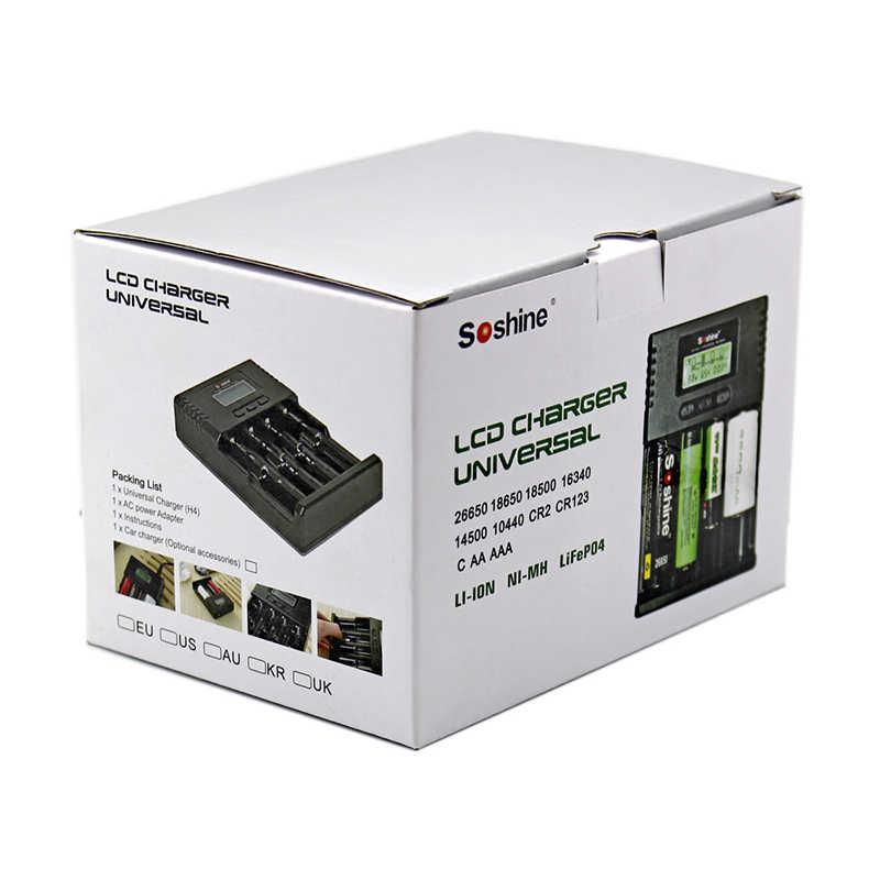 Soshine H4 lcd Smart универсальное регулируемое зарядное устройство тока для 26650 18650 16340 Li-Ion LiIFePO4 NiMH 1,2 V C AA AAA w/Автомобильное зарядное устройство