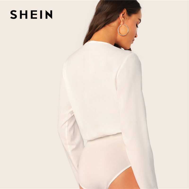 SHEIN White Surplice Neck Long Sleeve Solid Bodysuit Women Spring Autumn Mid Waist Wrap Office Lady Elegant Bodysuits 2