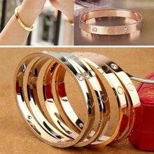 Модный роскошный браслет из розового золота с открытым манжетом, титановые браслеты, ювелирный браслет для женщин, подарок для пары, браслеты для влюбленных, ювелирное изделие