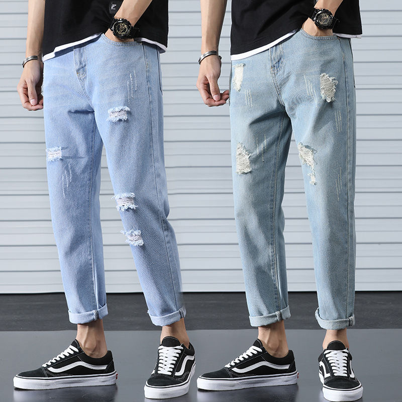 New Summer Ripped Jeans Vintage Blue Men's Denim Trousers Fashion Straight Scratched Holes Pants Jeans Hip Hop Streetwear S-3XL