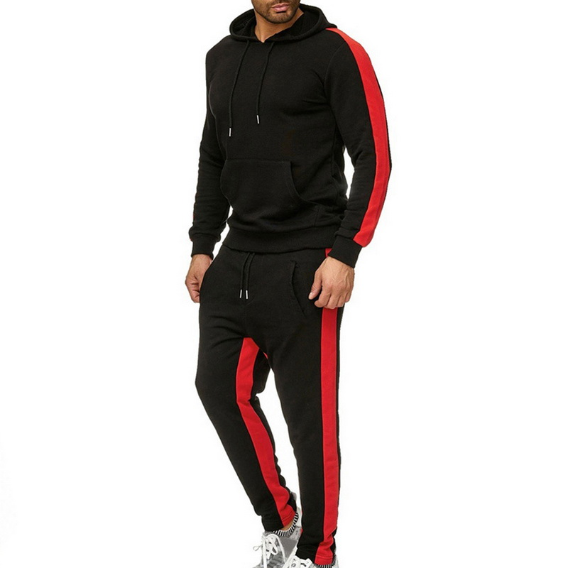 2 Pieces Men Fashion Side Striped Sports Set Men's Long Sleeve Hooded Sweatshirt+Pants 2019 New Casual Slim Joggers Tracksuits