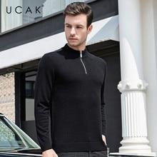 UCAK Brand Casual Men's Sweaters 2019 Streetwear Fashion Trend Thick Warm Pull Homme Pure Merino Wool Winter Cashmere Men U3087