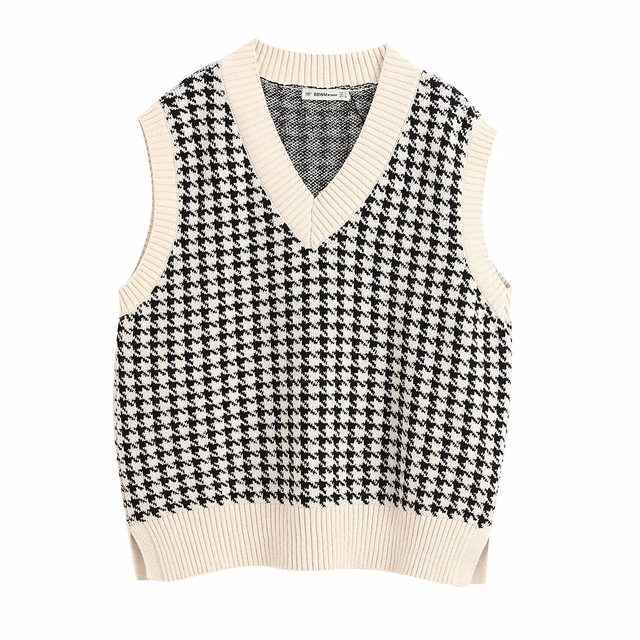 Fashion sleeveless vest sweater women pullover casual v neck knitted sweater winter cute korean sweater 2020 6