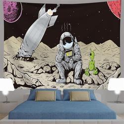 Настенный гобелен с Луной и звездами, синяя Звездная Галактика, гобелен с изображением вселенной, ночного неба, гобелен для спальни, гостино...