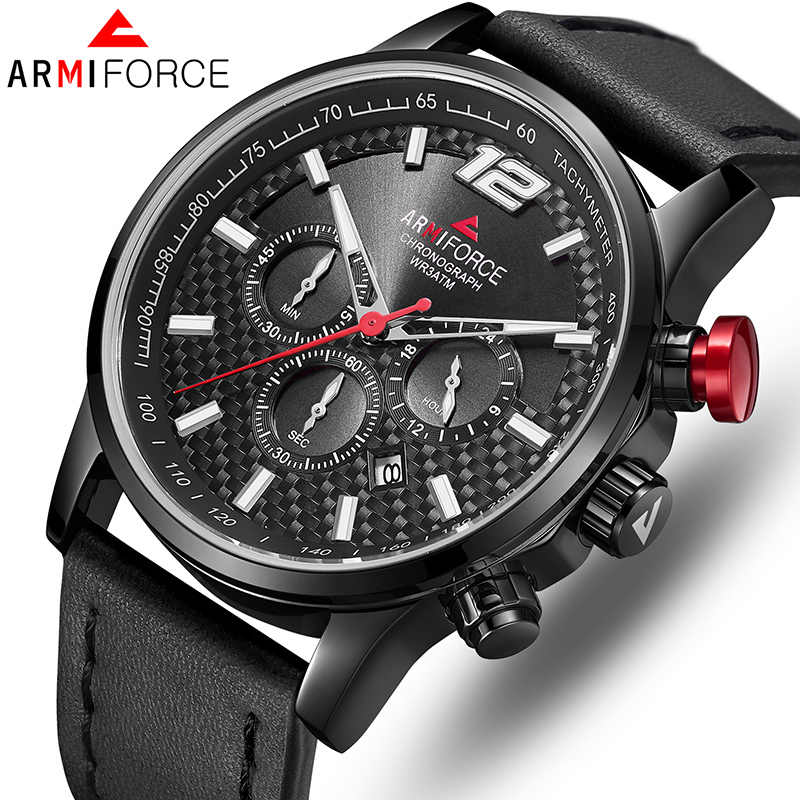 Brand New ARMIFORCE Luxury Men Watches Casual Wristwatch Leather Quartz Watch For Men Male Waterproof Clock Relogio Masculino