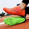 Кроссовки унисекс из искусственной кожи с шипами для бега, Нескользящие атлетические шипы для бега, золотистые и Серебристые гвозди