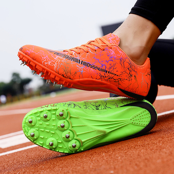 Unisex Track & Field Shoes Pu Spikes Sneakers for Running Non Slip Athletics Gold Silver Nails