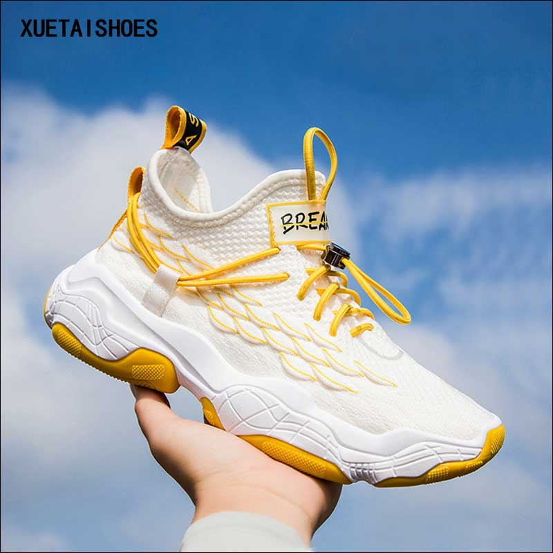 Flying Weave Running Shoes Mans Casual Autumn 2019 New Breathable Trend Thick-soled Shoes For Men White Sneakers Hiking Shoe