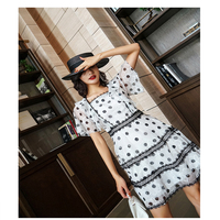Haute Couture Word Shoulder Sweet Fashion Sexy Short Slim Slim Waist Temperament Dress Dress