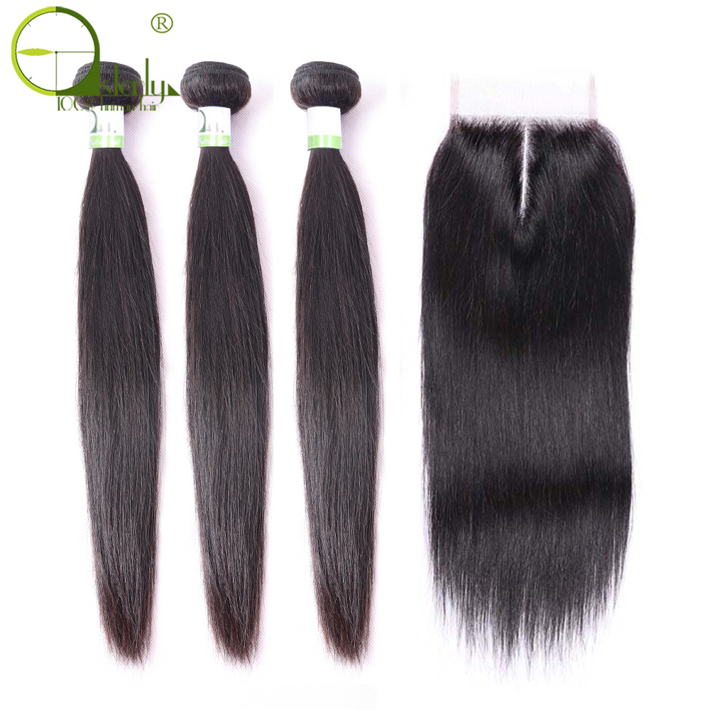 Sterly Hair Straight Hair Bundles With Closure Remy Human Hair Bundles With Closure Peruvian Hair Bundles With Closure