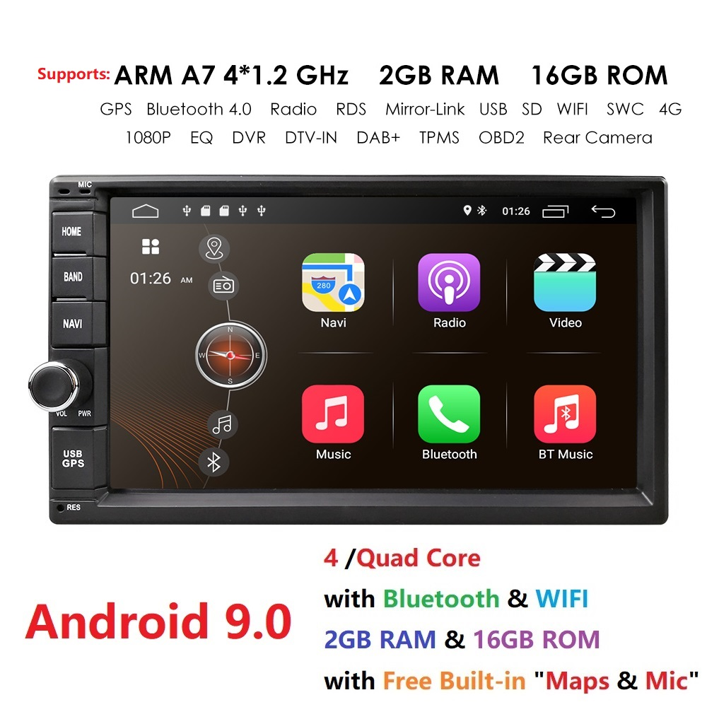 2G RAM Android 9.0 Auto Radio Quad Core 7 pouces 2DIN voiture universelle pas de lecteur DVD GPS stéréo Audio tête unité Support DAB DVR OBD BT