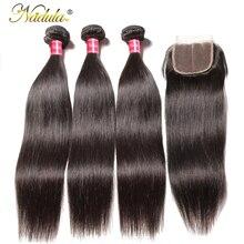 Nadula волосы 3 пряди бразильские прямые волосы с закрытием 4*4 закрытие шнурка с человеческие волосы ткет прямые пряди с закрытием