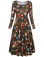 цена на Women's Long Sleeve round neck Floral Pockets Casual Swing Pleated  Dress