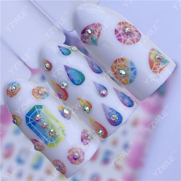 Currently Available Wholesale Ultra-Thin Large Sheet Gum Manicure Stickers Nail Sticker Nail Ornament Water Droplet Diamond Chil